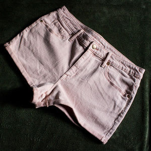 Pink Denim Shorts High Rise Cuffed Dusty Blush